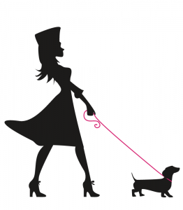 Illustration of a silhouetted soldier girl walking her dog