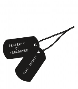 Illustration of military identification tags on necklace.