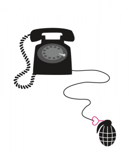 Illustration of a telephone attached to a grenade