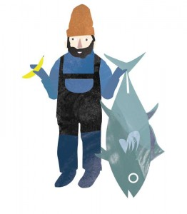 Illustration of fisherman comparing big tuna to banana