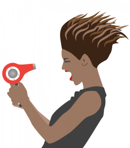 Illustration of girl with blowdryer