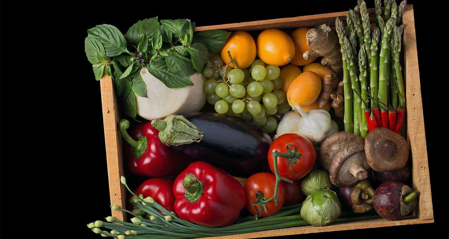 a box of vegetables harvested from around the Pacific Rim