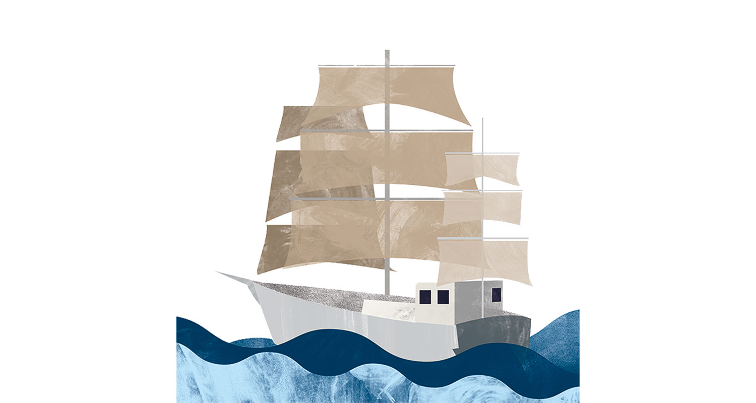 An illustration of a sailboat on the water