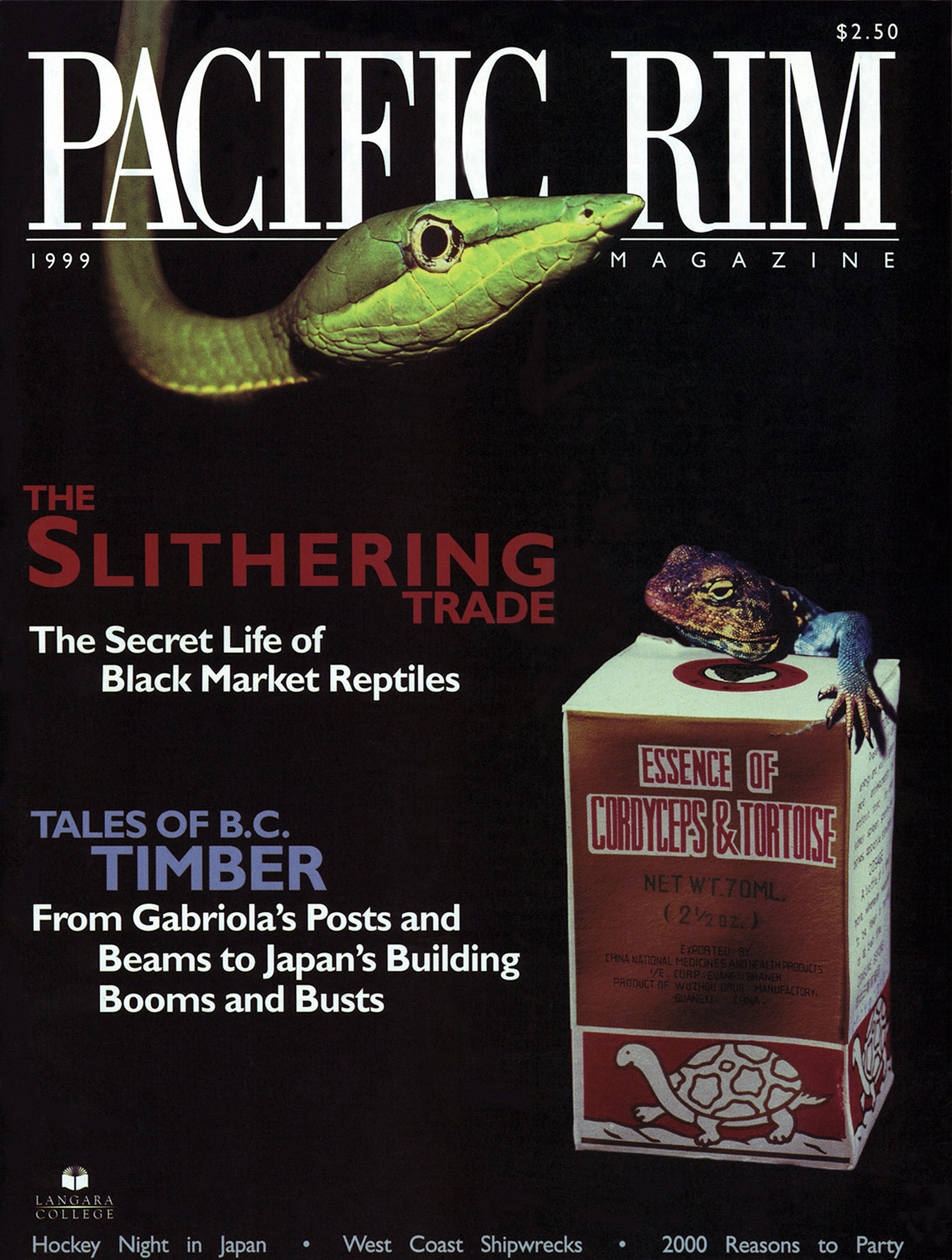 "1999 Pacific Rim Cover. ""The slithering trade."" Cover Story. Image of snake."