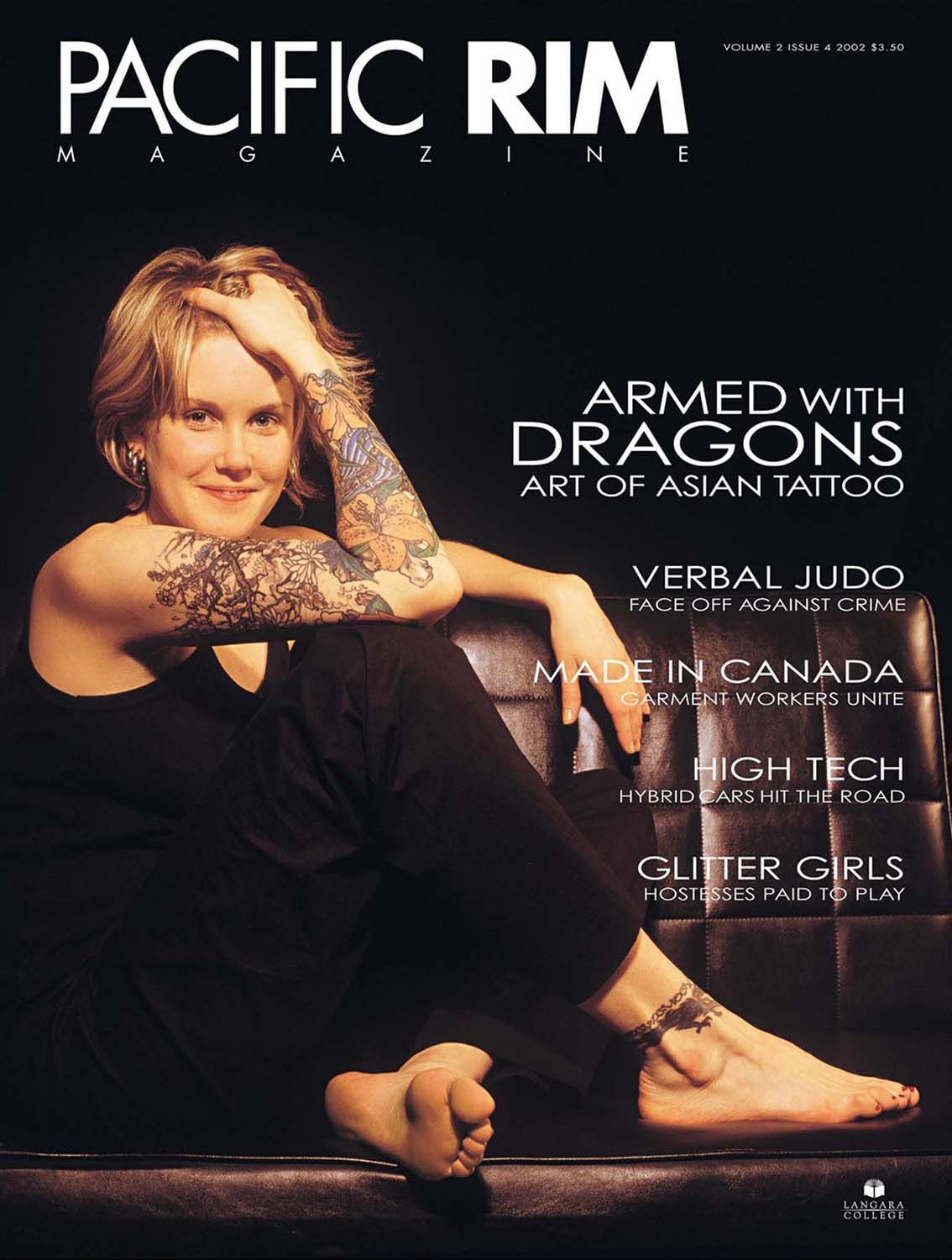 "2002 Pacific Rim Cover. ""Armed with Dragons."" Cover Story. Image of woman with tattooed arm."