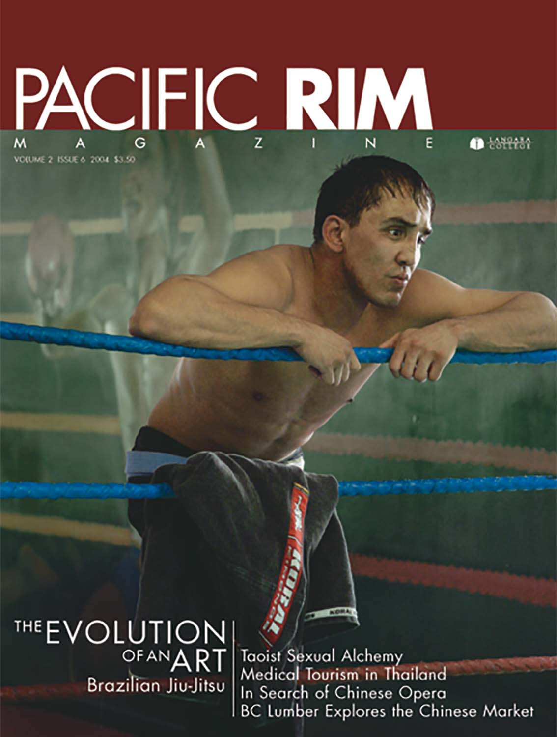 "2004 Pacific Rim Cover. ""The Evolution of an Art."" Cover Story. Image of man in boxing ring."