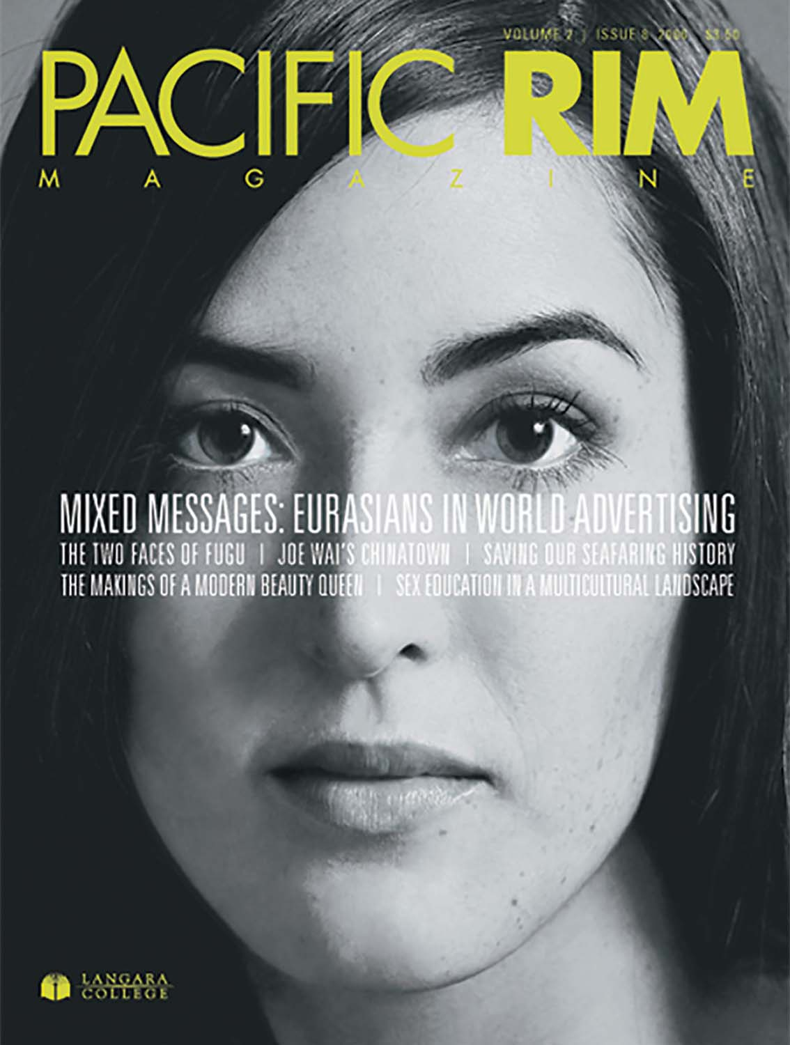 "2006 Pacific Rim Cover. ""Mixed Messages."" Cover story. Closeup portrait of Woman's Face."