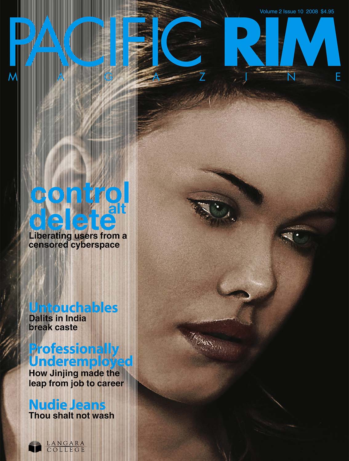 2008 Pacific Rim Cover, Closeup Portrait of Woman's Face.