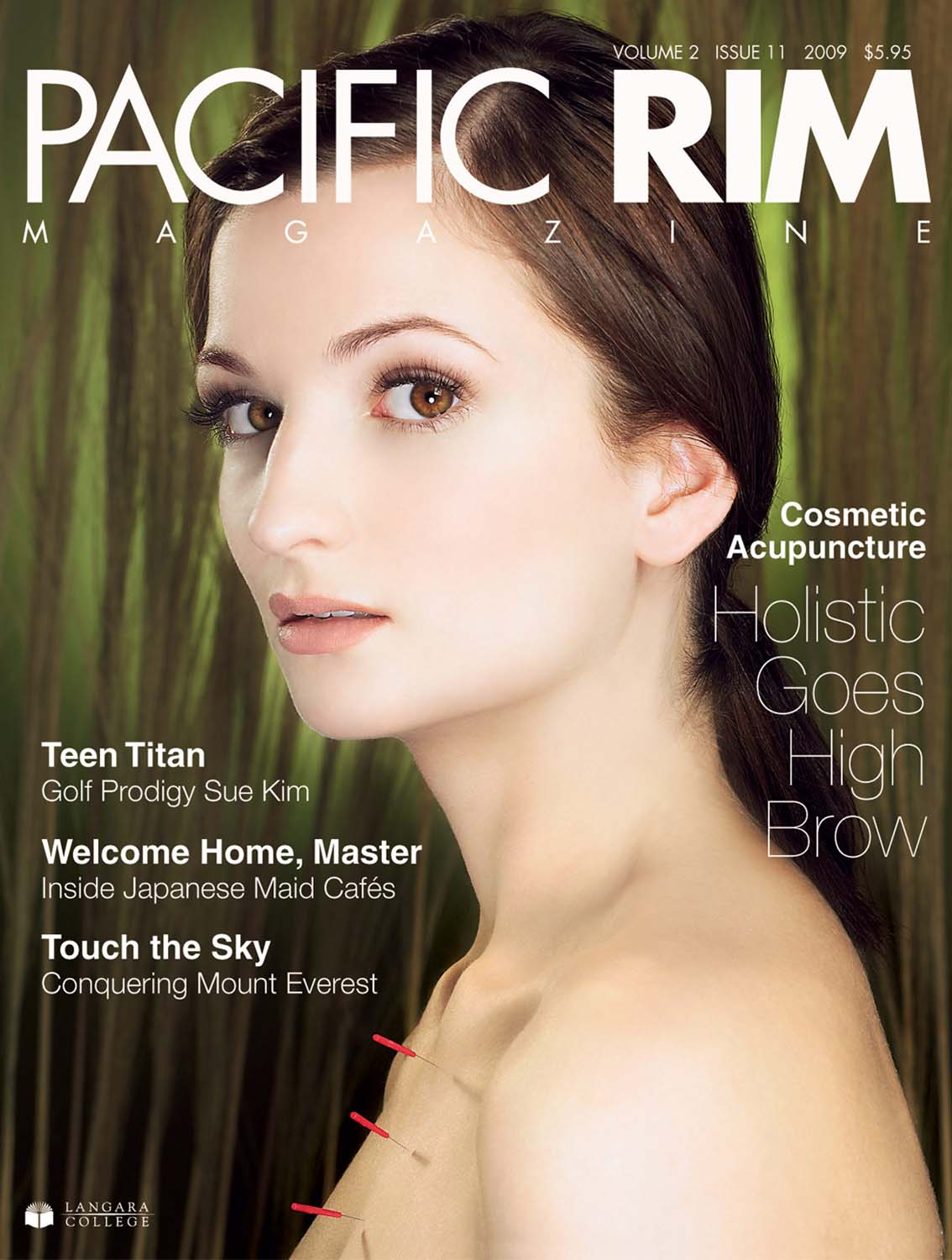 "2009 Pacific Rim Cover. ""Cosmetic Acupuncture"" Cover story. Image of woman's face."