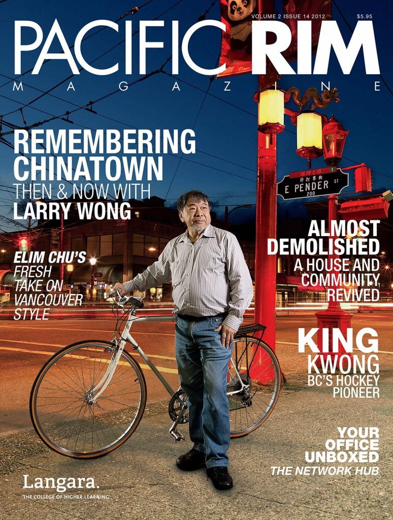 "2012 Pacific Rim Cover, ""Remembering Chinatown."" Image of man standing next to bicycle in Chinatown."