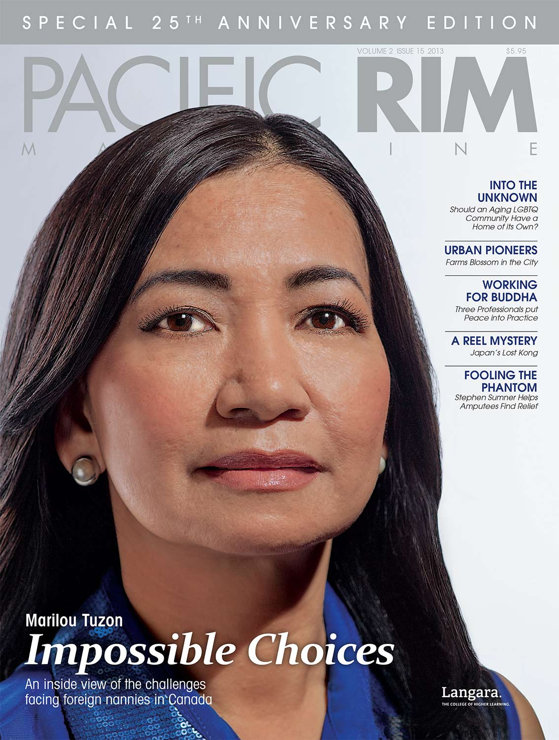 "2013 Pacific Rim Cover, ""Impossible Choices"" Cover Story. Image of Marilou Tuzon."