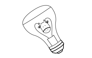 Illustration of Cow inside a lightbulb.