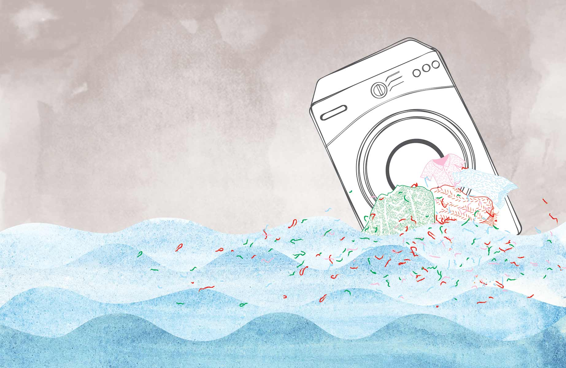 washing machine in the sea (illustration)