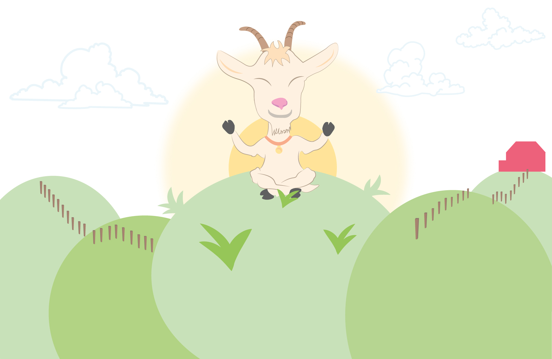Goat doing yoga illustration